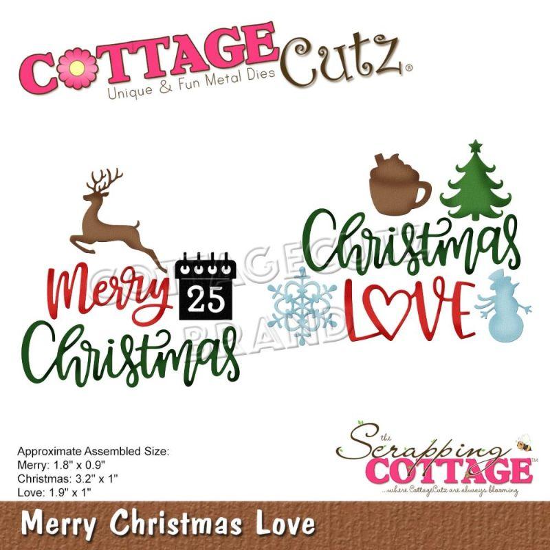 """Troquel """"Merry Christmas Love""""  Troquel de diseño exclusivo de Cottage Cutz, de excelente aleaciónque garantiza su durabilidad, buen corte, perfecto embossado y libre de corrosión. Es compatible con todas las marcas conocidas de roqueladoras como: WeR, Sizzix ,Ellison , CuttleBug, SpellBinders entre otras.  Corta papel, cartulina , foami, tela ,paño lenci, láminas de aluminio.  Equipo Scrapyart"""
