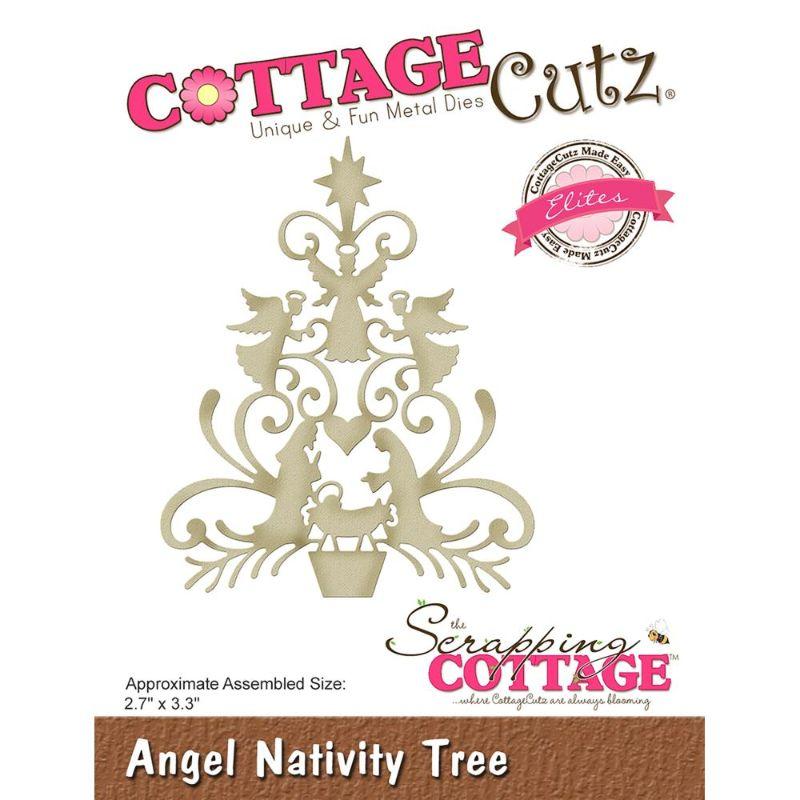 """Troquel """"Angel Nativity Tree""""  Troquel de diseño exclusivo de Cottage Cutz, de excelente aleaciónque garantiza su durabilidad, buen corte, perfecto embossado y libre de corrosión. Es compatible con todas las marcas conocidas de troqueladoras como: WeR, Sizzix ,Ellison , CuttleBug, SpellBinders entre otras.  Corta papel, cartulina , foami, tela ,paño lenci, láminas de aluminio.  Equipo Scrapyart"""