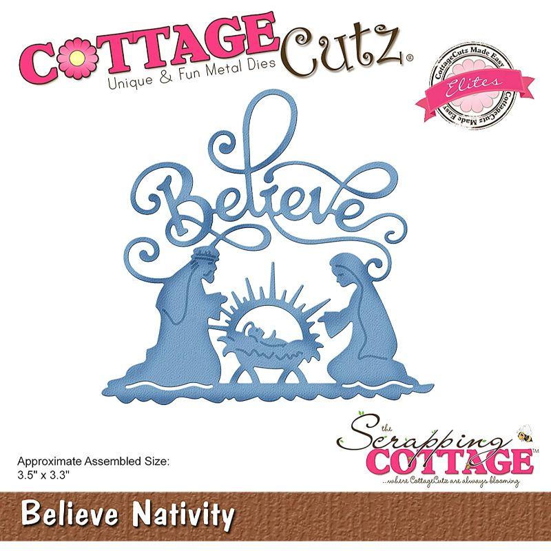 """Troquel """"Believe Nativity""""  Troquel de diseño exclusivo de Cottage Cutz, de excelente aleaciónque garantiza su durabilidad, buen corte, perfecto embossado y libre de corrosión. Es compatible con todas las marcas conocidas de roqueladoras como: WeR, Sizzix ,Ellison , CuttleBug, SpellBinders entre otras.  Corta papel, cartulina , foami, tela ,paño lenci, láminas de aluminio.  Equipo Scrapyart"""