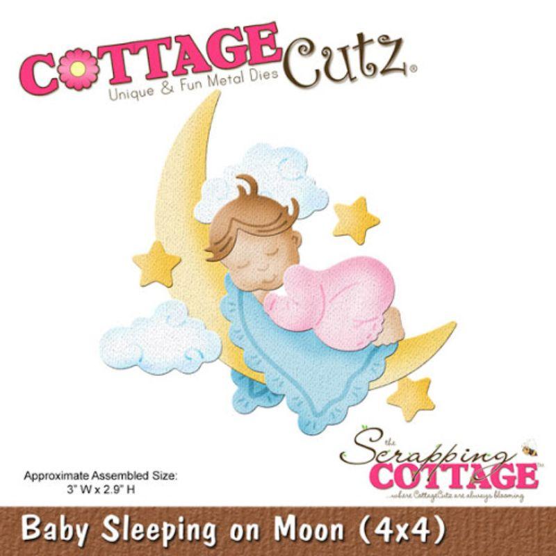 """Troquel """"Baby Sleeping On Moon""""  Troquel de diseño exclusivo de Cottage Cutz, de excelente aleaciónque garantiza su durabilidad, buen corte, perfecto embossado y libre de corrosión. Es compatible con todas las marcas conocidas de roqueladoras como: WeR, Sizzix ,Ellison , CuttleBug, SpellBinders entre otras.  Corta papel, cartulina , foami, tela ,paño lenci, láminas de aluminio.  Equipo Scrapyart"""