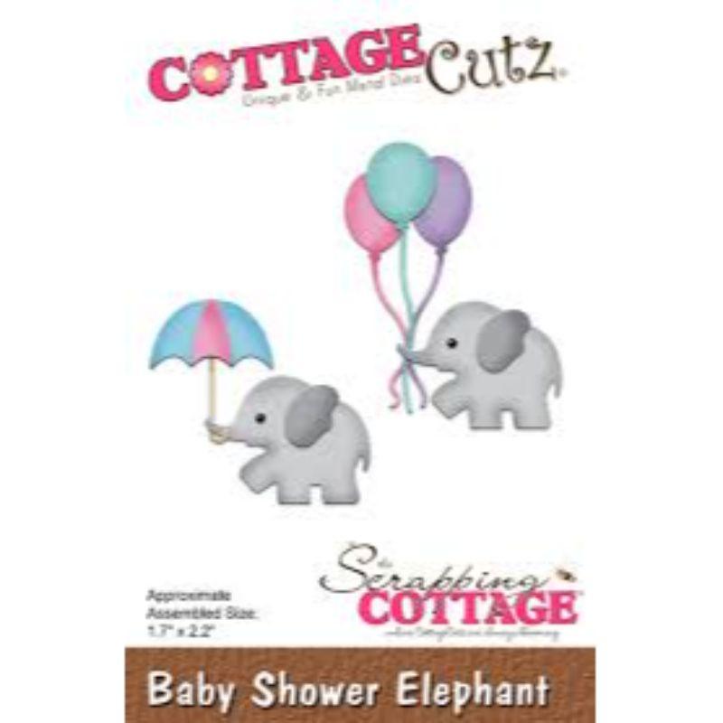 """Troquel """"Baby Shower Elephant""""  Troquel de diseño exclusivo de Cottage Cutz, de excelente aleaciónque garantiza su durabilidad, buen corte, perfecto embossado y libre de corrosión. Es compatible con todas las marcas conocidas de troqueladoras como: WeR, Sizzix ,Ellison , CuttleBug, SpellBinders entre otras.  Corta papel, cartulina , foami, tela ,paño lenci, láminas de aluminio.  Equipo Scrapyart"""