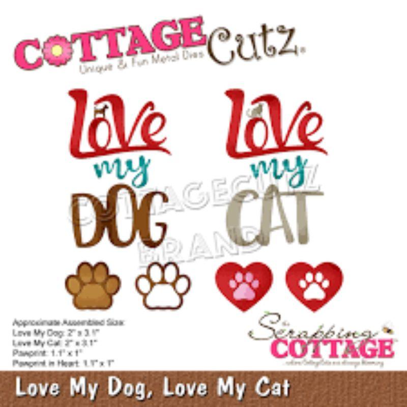 """Troquel """"Love My Dog Love My Cat""""  Troquel de diseño exclusivo de Cottage Cutz, de excelente aleaciónque garantiza su durabilidad, buen corte, perfecto embossado y libre de corrosión. Es compatible con todas las marcas conocidas de troqueladoras como: WeR, Sizzix ,Ellison , CuttleBug, SpellBinders entre otras.  Corta papel, cartulina , foami, tela ,paño lenci, láminas de aluminio.  Equipo Scrapyart"""