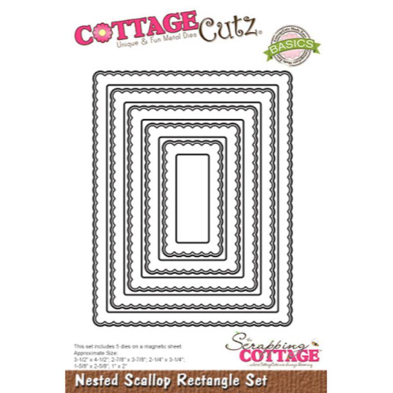 """Troquel """"Nested Stitched Scallop Rectangle Set""""  Troquel de diseño exclusivo de Cottage Cutz, de excelente aleaciónque garantiza su durabilidad, buen corte, perfecto embossado y libre de corrosión. Es compatible con todas las marcas conocidas de troqueladoras como: WeR, Sizzix ,Ellison , CuttleBug, SpellBinders entre otras.  Corta papel, cartulina , foami, tela ,paño lenci, láminas de aluminio.  Equipo Scrapyart"""