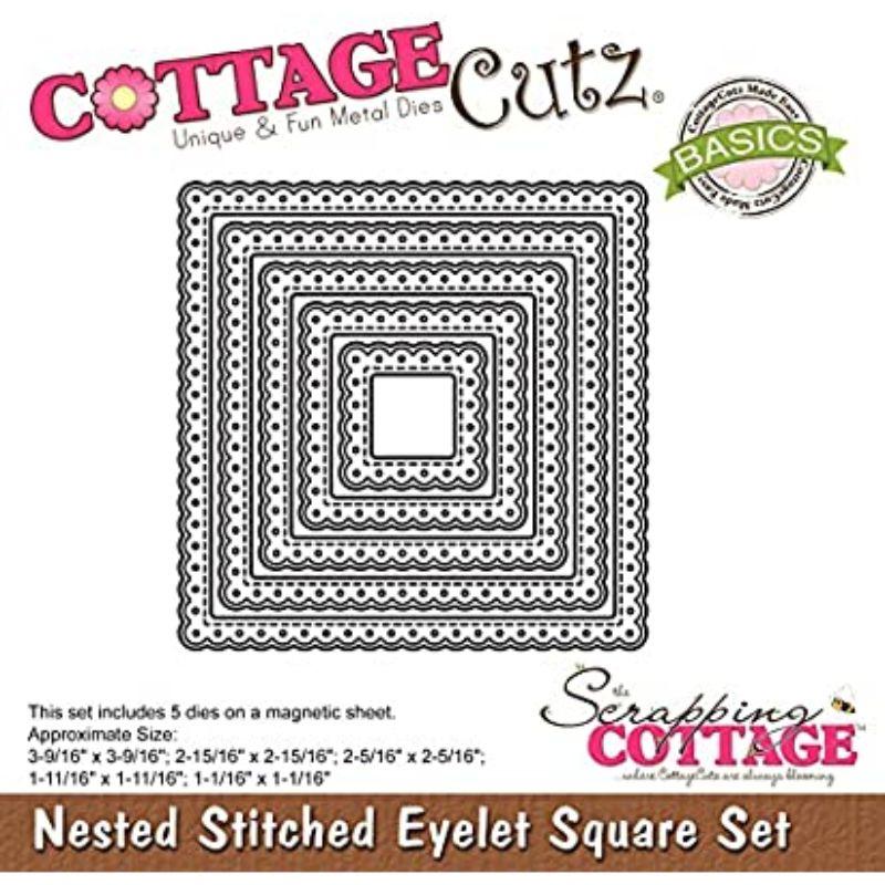 """Troquel """"Nested Stitched Eyelet SquareSet""""  Troquel de diseño exclusivo de Cottage Cutz, de excelente aleaciónque garantiza su durabilidad, buen corte, perfecto embossado y libre de corrosión. Es compatible con todas las marcas conocidas de troqueladoras como: WeR, Sizzix ,Ellison , CuttleBug, SpellBinders entre otras.  Corta papel, cartulina , foami, tela ,paño lenci, láminas de aluminio.  Equipo Scrapyart"""