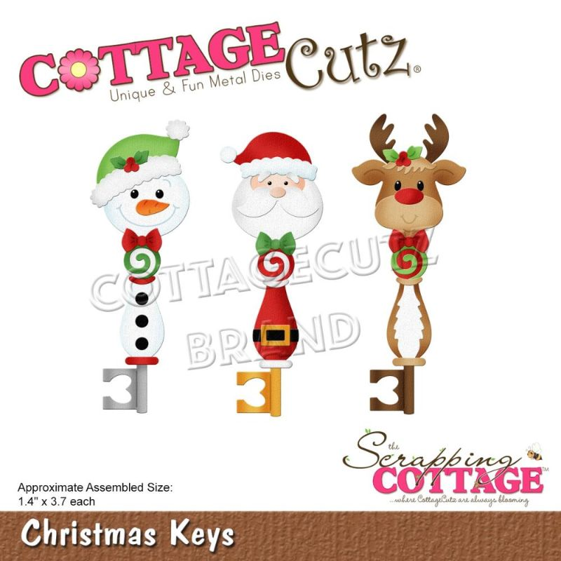 """Troquel """"Christmas Keys""""  Troquel de diseño exclusivo de Cottage Cutz, de excelente aleaciónque garantiza su durabilidad, buen corte, perfecto embossado y libre de corrosión. Es compatible con todas las marcas conocidas de roqueladoras como: WeR, Sizzix ,Ellison , CuttleBug, SpellBinders entre otras.  Corta papel, cartulina , foami, tela ,paño lenci, láminas de aluminio.  Equipo Scrapyart"""