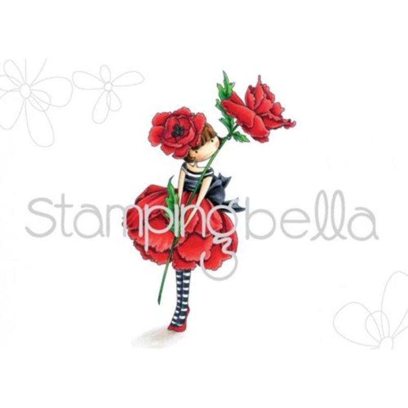 """Sello """"Tiny Townie Garden Girl Poppy""""  Sello de Jebe de Stampingbella, especial para estampar con tampones de tinta en tus proyectos de scrapbooking, tajertería y otras manualidades.  Agrega untoque mejor a tus proyectos y para embellecerlos.  Equipo Scrpyart"""