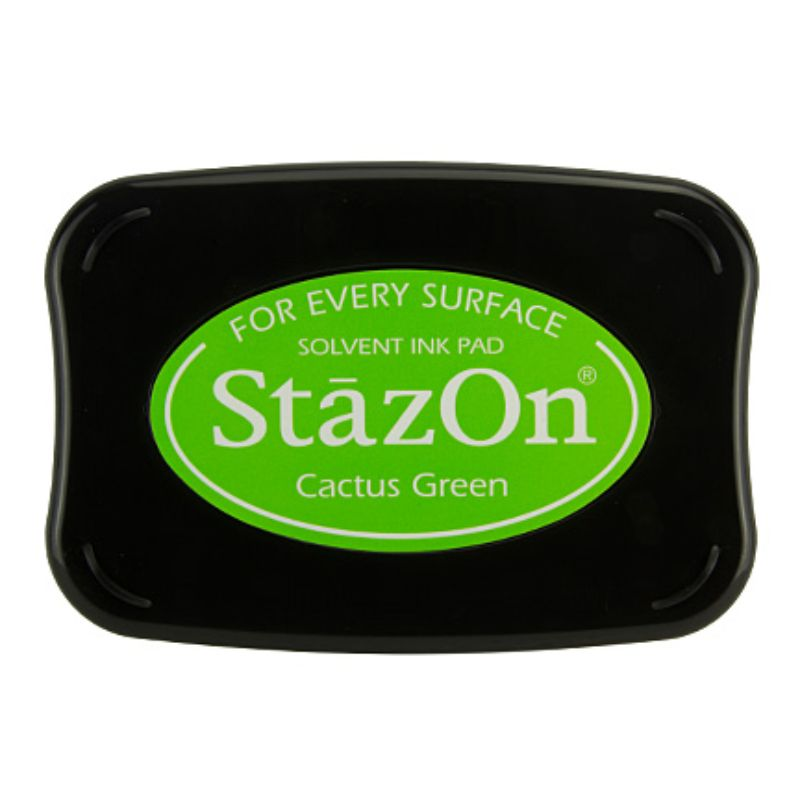 Tinta Stazon InkCactus Green  Tintaespecialmente creadapara estapar en:Plásticos, metal, vidrio, cerámica, papel laminado, papel cuché y cuero. No recomendado para el tejido.  Equipo Scrapyart