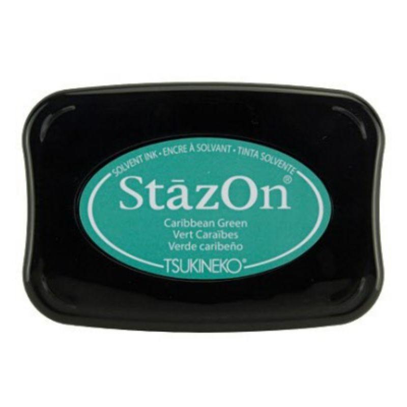 Tinta Stazon Ink Caribbean Green  Tintaespecialmente creadapara estapar en:Plásticos, metal, vidrio, cerámica, papel laminado, papel cuché y cuero. No recomendado para el tejido.  Equipo Scrapyart