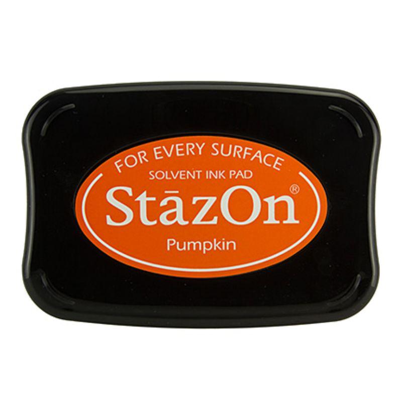 Tinta Stazon Ink Pumpkin  Tintaespecialmente creadapara estapar en:Plásticos, metal, vidrio, cerámica, papel laminado, papel cuché y cuero. No recomendado para el tejido.  Equipo Scrapyart