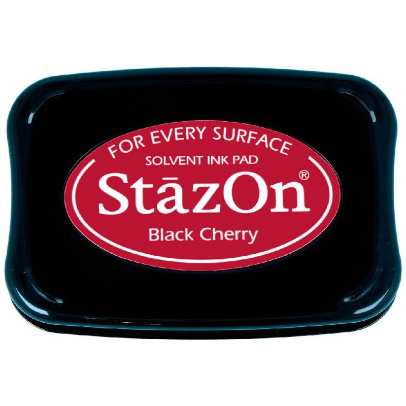 Tinta Stazon Ink Black Cherry  Tintaespecialmente creadapara estapar en:Plásticos, metal, vidrio, cerámica, papel laminado, papel cuché y cuero. No recomendado para el tejido.  Equipo Scrapyart
