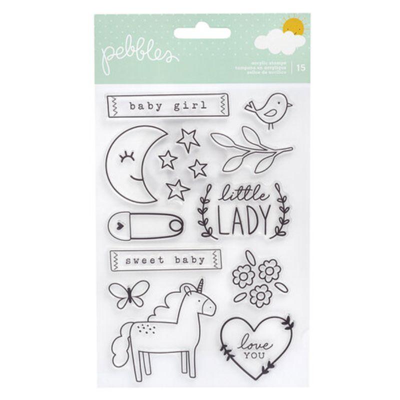 Sello Pekk Boo Girl  Incluye 15 sellos crílicos transparentes que se pueden usar con sus tintas favoritas  Equipo Scrapyart