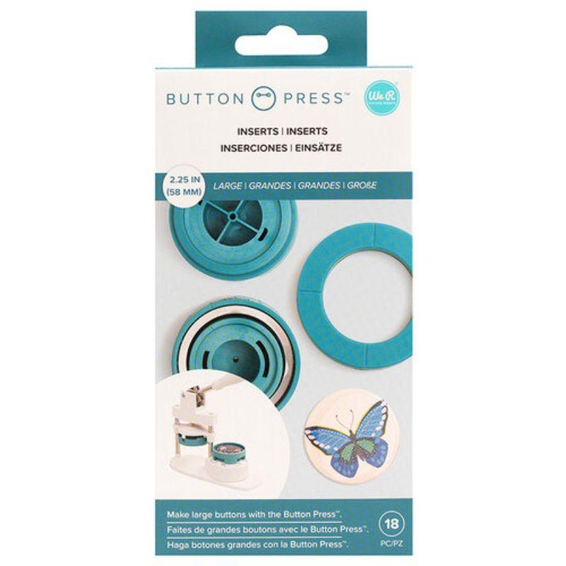 Base de Insertaciones Grande - Button Press Adaptador grande de 58 mm ( 5.8 cm ) para la máquina Button Press. Este adaptador te permitirá hacer diseños más pequeños, siendo este el adaptador de mayor tamaño de los tres disponibles para trabajar con la Button Press Incluye piezas para realizar hasta cinco chapas. Equipo Scrapyart