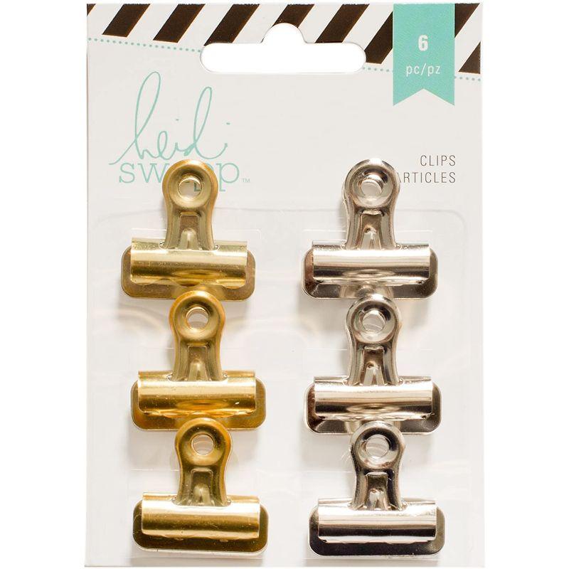 Clips Gold& Silver  Los Click Gold& Silverde Metal practicos para decorar y sujetar tus proyectos de Scrapbooking , Tarjerteria , albunes de fotos y otras manualidades  Contenido: 6 unidades  Equipo Scrapyart