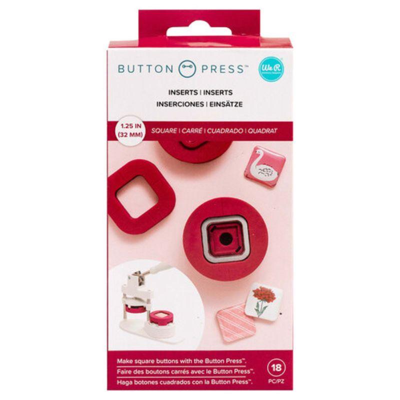 Realiza botones cuadrados con el inserto cuadrado para presionar botones.  En el paquete se incluye un inserto cuadrado intercambiable con piezas para hacer 5 botones cuadrados.    Equpo Scrapyart