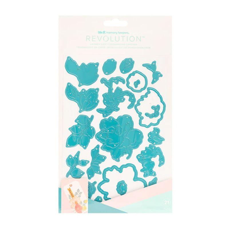 Troquel Dies Layered Florals  Troquelar nunca ha sido tan fácil con la máquina de corte y estampado Revolution de We R Memory Keepers! Combina tu máquina con troqueles con forma para crear proyectos únicos en todo momento. Utiliza tus colores y patrones favoritos para personalizar.   Este paquete incluye 21 troqueles florales en capas para darle a su proyecto algo de dimensión y textura.    Esquipo Scrapyart