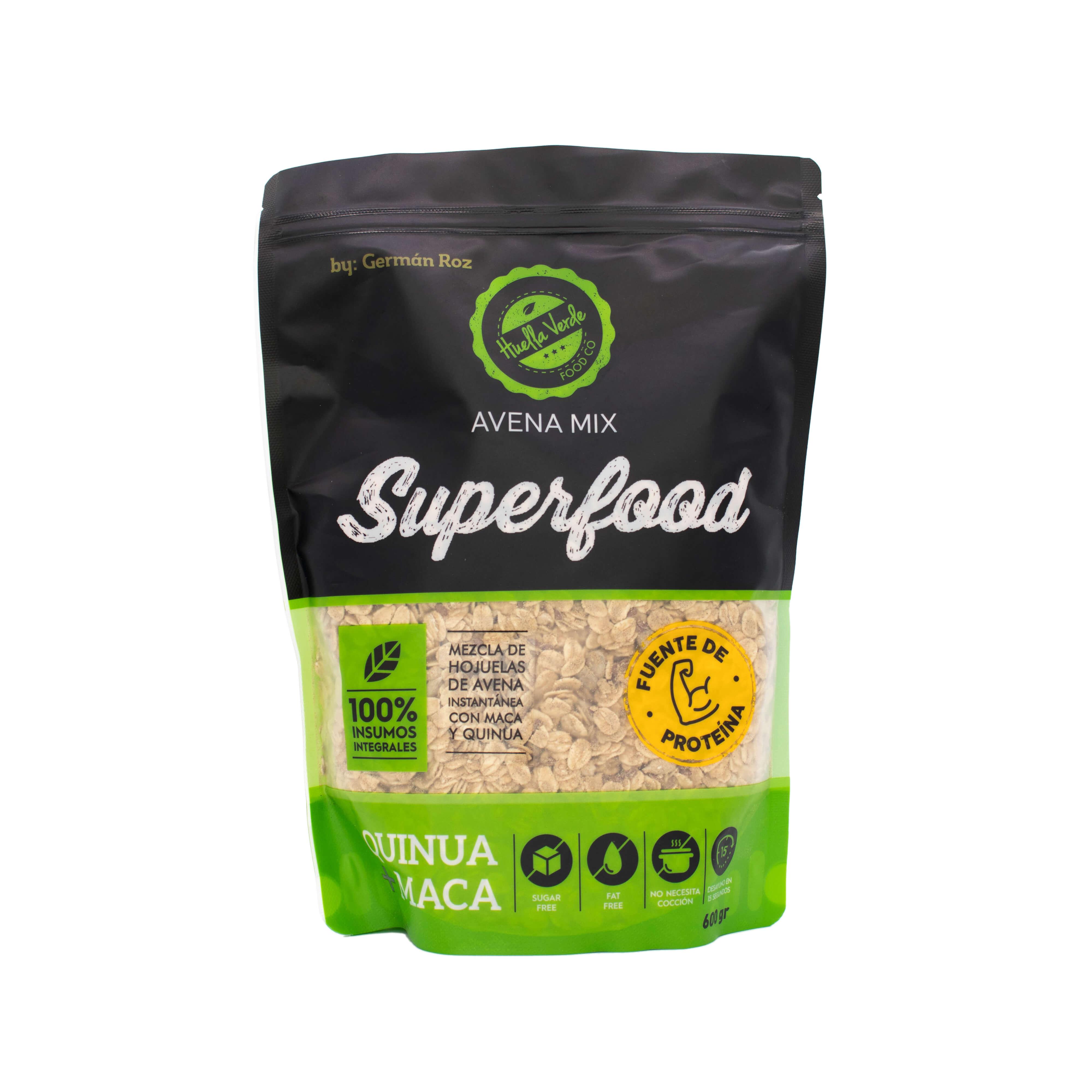 Potencia tu energía con el balance ideal entre fibra y proteína. Superfood es un mix que contiene minerales como el calcio, fosforo y potasio que ayudan a fortalecer el metabolismo del cuerpo, el balance del agua y la salud ósea.   Contiene: Avena en hojuelas, semillas de girasol, semillas de linaza, proteína de tara, maca en polvo, canela, quinua y cranberrys.  Doypack 600gr
