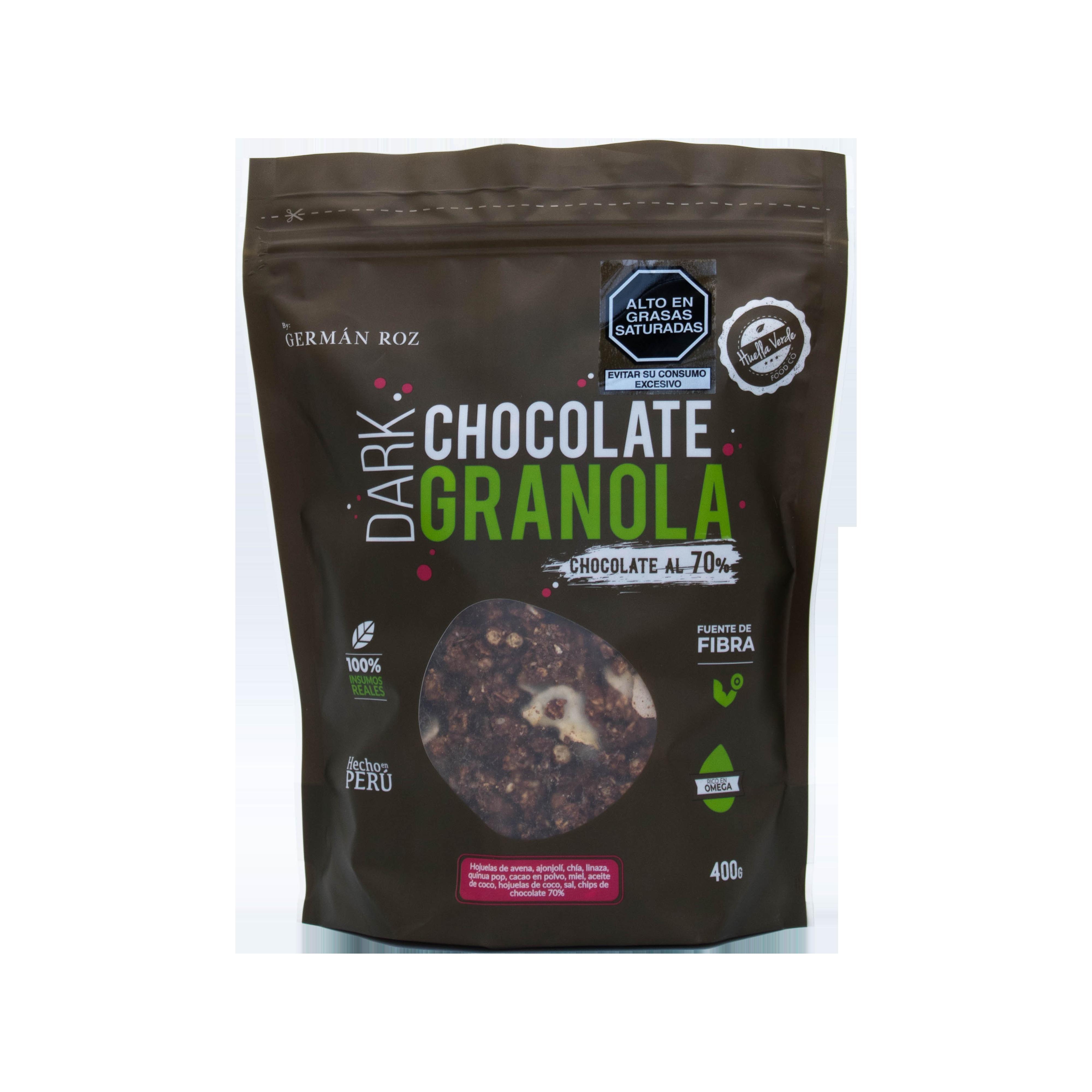 ¡Disfruta la nueva Dark Chocolate Granola con chocolate al 70%!  Está elaborado con insumos 100% naturales y peruanos, fuente de fibra y rico en omega.  Contiene: Hojuelas de avena, chía, semillas de ajonjolí, linaza, quinua pop, cacao en polvo, miel, aceite de coco, chips de chocolate al 70% y hojuelas de coco.  *A base de cacao orgánico y coco, ingredientes con grasa saturada por su naturaleza. No usamos aditivos.  Doypack 400gr.