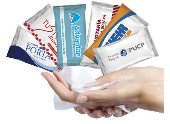 Útiles toallitas hipoalergenicas con logo, practicas y funcionales, usadas en cualquier momento para desinfectarse las manos,