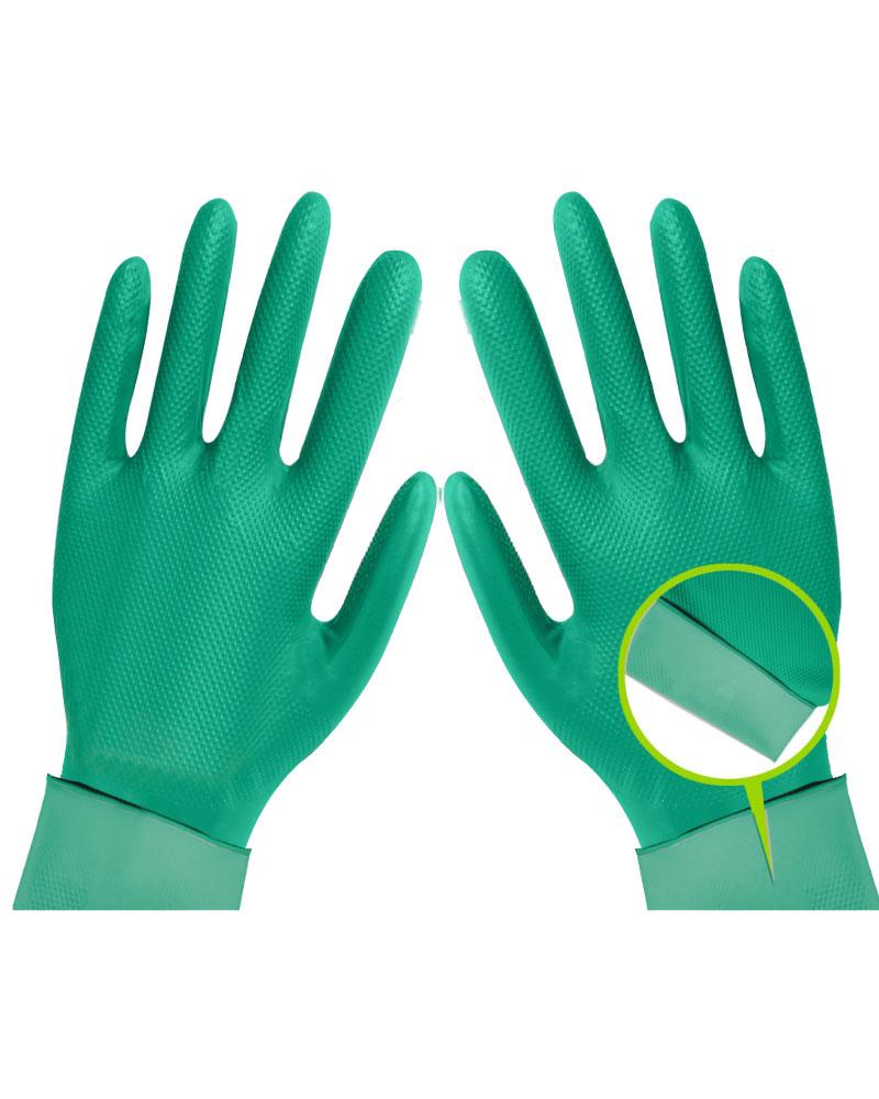 Ideales para las labores diarias en el hogar o para uso en la industria alimenticia, farmacéutica, veterinaria, agroexportadora, etc.  En conformidad con los Estándares FDA 510K 21 CFR 170-199, ISO 9001:2008 e ISO 13485:2003. Estos guantes son Food Safe!  Ambidiestros, libres de polvo, anti alérgicos, color verde.  Estos guantes no son descartables, puedes usarlos muchas veces!  Desinféctalos con jabón, alcohol o lejía al finalizar el uso y listo! Si usas lejía, recuerda enjuagar el guante y luego dejarlo secar.  Tallas 7/S, 8/M, 9/L, 10/XL.  Bolsa de 1 par