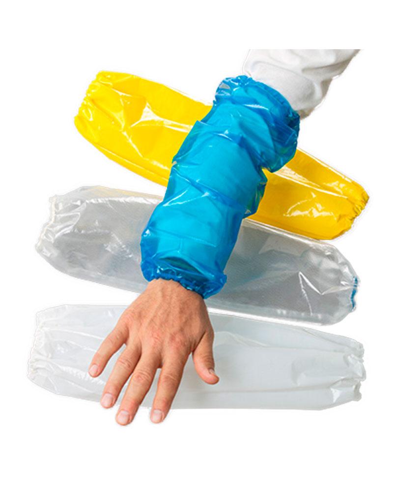 Mangas 100% impermeables al agua, grasas, aceites y con resistencia a productos químicos. Pieza liviana con elásticos ergonómicos uno a la muñeca y otro a la parte superior del brazo.  Producto Reutilizable de larga duración.Buena resistencia al agrietamiento y desgarro. También se mantiene flexible y no se quiebra cuando hay cambios de temperatura.  Las Mangas VR ofrecen una Protección Antibacteriana, la superficie del material VR no permite la proliferación de bacterias ayudando a disminuir la carga bacteriana de cualquier proceso.  El VR no contiene sustancias tóxicas ni plastificantes y puede desecharse de manera segura sin dañar el medio ambiente. Cuando tengas que desechar tus mangas, Recicla!  Las Mangas Antibacterianas VR están aprobadas para el contacto directo con alimentos.   FDA 21 CFR 175.300  Talla Estándar, Largo 45 cm. Colores Azul y Blanco. Empaque 01 par.