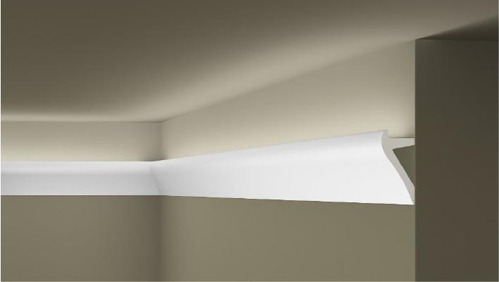 **Precio por Unidad**  - Longitud: 2 m -Altura: 105 mm -Ancho: 50 mm -Material compuesto de: Poliuretano extruido: espuma homogénea, de células finas y  compactas, de color blanco. -Densidad: Ca. 60 kg/m3 -Temperatura de colocación: +10°C a +30°C  (idealmente +15°C a +25°C). -Temperatura de utilización: max. +70°C -Dureza de la superficie: ± 35 (media) según la norma DIN 53505/ISO 868.  Superficies perfectamente lisas con extremos bien definidas. Superficies inclinadas (2°), para facilitar la aplicación, y estriadas para una mayor adherencia del pegamento. Fondos apropiados: superficies interiores estucadas con yeso o tapizadas, estuco revestido. Las superficies deben estar limpias, secas, desempolvadas, desgrasadas y lisas; deslustrar si es necesario. Las cornisas ARTSTYL pueden pintarse sin inconveniente con pinturas sin solvente (por ej. pinturas en dispersión, lacas acrílicas, etc.). Si se desea, no obstante, aplicar una pintura con solvente, se aconseja aplicar primero una pintura en dispersión y hacer una prueba.
