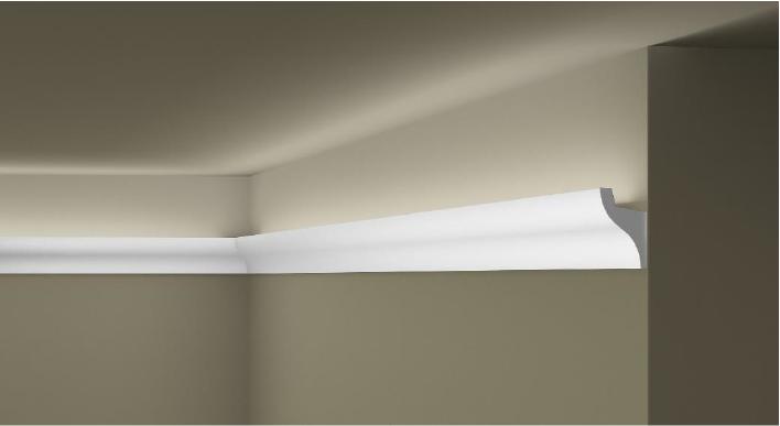 **Precio por Unidad**  - Longitud: 2 m - Altura: 50 mm - Ancho: 33 mm - Material compuesto de: Poliuretano extruido: espuma homogénea, de células finas y  compactas, de color blanco. - Densidad: Ca. 60 kg/m3 - Temperatura de colocación: +10°C a +30°C  (idealmente +15°C a +25°C). - Temperatura de utilización: max. +70°C - Dureza de la superficie: ± 35 (media) según la norma DIN 53505/ISO 868.  Superficies perfectamente lisas con extremos bien definidas. Superficies inclinadas (2°), para facilitar la aplicación, y estriadas para una mayor adherencia del pegamento. Fondos apropiados: superficies interiores estucadas con yeso o tapizadas, estuco revestido. Las superficies deben estar limpias, secas, desempolvadas, desgrasadas y lisas; deslustrar si es necesario. Las cornisas WALLSTYL pueden pintarse sin inconveniente con pinturas sin solvente (por ej., pinturas en dispersión, lacas acrílicas, etc.). Si se desea, no obstante, aplicar una pintura con solvente, se aconseja aplicar primero una pintura en dispersión y hacer una prueba.