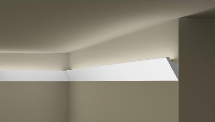 -Longitud: 2 m -Altura: 60 mm -Ancho: 36 mm -Material compuesto de: Poliuretano extruido: espuma homogénea, de células finas y  compactas, de color blanco. -Densidad: Ca. 60 kg/m3 -Temperatura de colocación: +10°C a +30°C  (idealmente +15°C a +25°C). -Temperatura de utilización: max. +70°C -Dureza de la superficie: ± 35 (media) según la norma DIN 53505/ISO 868.  Superficies perfectamente lisas con extremos bien definidas. Superficies inclinadas (2°), para facilitar la aplicación, y estriadas para una mayor adherencia del pegamento. Fondos apropiados: superficies interiores estucadas con yeso o tapizadas, estuco revestido. Las superficies deben estar limpias, secas, desempolvadas, desgrasadas y lisas; deslustrar si es necesario. Las cornisas WALLSTYL pueden pintarse sin inconveniente con pinturas sin solvente (por ej., pinturas en dispersión, lacas acrílicas, etc.). Si se desea, no obstante, aplicar una pintura con solvente, se aconseja aplicar primero una pintura en dispersión y hacer una prueba.