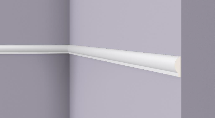 **Precio por Unidad**  - Longitud: 2 m -Altura: 28 mm -Ancho: 9 mm -Material compuesto de poliuretano extruido: espuma homogénea de células finas y  compactas, de color blanco. -Densidad: Ca. 220 kg/m3 -Temperatura de colocación: +10°C a +30°C  (idealmente +15°C a +25°C). -Temperatura de utilización: max. +70°C -Dureza de la superficie: ca. 30 según la norma DIN 53505/ISO 868.  Capa de pintura de imprimación acrílica blanco mate, para ser cubierta con otras capas de pintura. Superficies perfectamente lisas con extremos bien definidos. Superficie estriada en el dorso para facilitar la adherencia del pegamento. Las superficies deben estar limpias, secas, desempolvadas, desgrasadas y lisas; deslustrar si es necesario. Las molduras ARTSTYL pueden pintarse sin inconveniente con pinturas sin solvente (por ejm., pinturas en dispersión, lacas acrílicas, etc.).