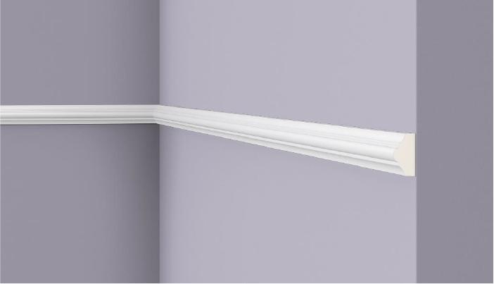 **Precio por Unidad**  - Longitud: 2 m -Altura: 23 mm -Ancho: 13 mm - Material compuesto de poliuretano extruido: espuma homogénea de células finas y  compactas, de color blanco. - Densidad: Ca. 220 kg/m3 - Temperatura de colocación: +10°C a +30°C  (idealmente +15°C a +25°C). - Temperatura de utilización: max. +70°C - Dureza de la superficie: ca. 30 según la norma DIN 53505/ISO 868.  Capa de pintura de imprimación acrílica blanco mate, para ser cubierta con otras capas de pintura. Superficies perfectamente lisas con extremos bien definidos. Superficie estriada en el dorso para facilitar la adherencia del pegamento. Las superficies deben estar limpias, secas, desempolvadas, desgrasadas y lisas; deslustrar si es necesario. Las molduras ARTSTYL pueden pintarse sin inconveniente con pinturas sin solvente (por ejm., pinturas en dispersión, lacas acrílicas, etc.).