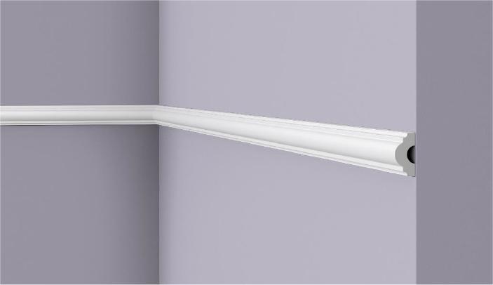 **Precio por Unidad**  - Longitud: 2 m -Altura: 25 mm -Ancho: 13 mm - Material compuesto de poliuretano extruido: espuma homogénea de células finas y  compactas, de color blanco. - Densidad: Ca. 220 kg/m3 - Temperatura de colocación: +10°C a +30°C  (idealmente +15°C a +25°C). - Temperatura de utilización: max. +70°C - Dureza de la superficie: ca. 30 según la norma DIN 53505/ISO 868.  Capa de pintura de imprimación acrílica blanco mate, para ser cubierta con otras capas de pintura. Superficies perfectamente lisas con extremos bien definidos. Superficie estriada en el dorso para facilitar la adherencia del pegamento. Las superficies deben estar limpias, secas, desempolvadas, desgrasadas y lisas; deslustrar si es necesario. Las molduras WALLSTYL pueden pintarse sin inconveniente con pinturas sin solvente (por ejm., pinturas en dispersión, lacas acrílicas, etc.).