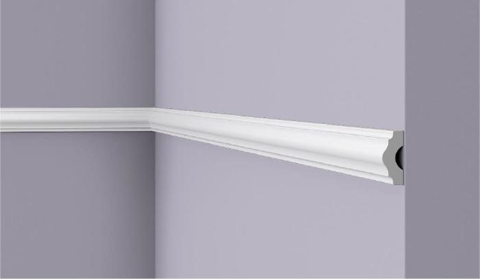 **Precio por Unidad**  - Longitud: 2 m - Altura: 38 mm - Ancho: 16 mm - Material compuesto de poliuretano extruido: espuma homogénea de células finas y  compactas, de color blanco. - Densidad: Ca. 220 kg/m3 - Temperatura de colocación: +10°C a +30°C  (idealmente +15°C a +25°C). - Temperatura de utilización: max. +70°C - Dureza de la superficie: ca. 30 según la norma DIN 53505/ISO 868.  Capa de pintura de imprimación acrílica blanco mate, para ser cubierta con otras capas de pintura. Superficies perfectamente lisas con extremos bien definidos. Superficie estriada en el dorso para facilitar la adherencia del pegamento. Las superficies deben estar limpias, secas, desempolvadas, desgrasadas y lisas; deslustrar si es necesario. Las molduras WALLSTYL pueden pintarse sin inconveniente con pinturas sin solvente (por ejm., pinturas en dispersión, lacas acrílicas, etc.).