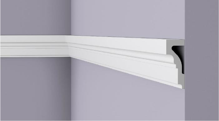 **Precio por Unidad**  - Longitud: 2 m -Altura: 100 mm -Ancho: 40 mm - Material compuesto de poliuretano extruido: espuma homogénea de células finas y  compactas, de color blanco. - Densidad: Ca. 220 kg/m3 - Temperatura de colocación: +10°C a +30°C  (idealmente +15°C a +25°C). - Temperatura de utilización: max. +70°C - Dureza de la superficie: ca. 30 según la norma DIN 53505/ISO 868.  Capa de pintura de imprimación acrílica blanco mate, para ser cubierta con otras capas de pintura. Superficies perfectamente lisas con extremos bien definidos. Superficie estriada en el dorso para facilitar la adherencia del pegamento. Las superficies deben estar limpias, secas, desempolvadas, desgrasadas y lisas; deslustrar si es necesario. Las molduras WALLSTYL pueden pintarse sin inconveniente con pinturas sin solvente (por ejm., pinturas en dispersión, lacas acrílicas, etc.).