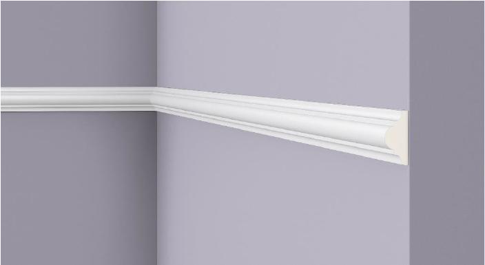 **Precio por Unidad**  - Longitud: 2 m - Altura: 18mm - Ancho: 38 mm - Material compuesto de poliuretano extruido: espuma homogénea de células finas y  compactas, de color blanco. - Densidad: Ca. 220 kg/m3 - Temperatura de colocación: +10°C a +30°C  (idealmente +15°C a +25°C). - Temperatura de utilización: max. +70°C - Dureza de la superficie: ca. 30 según la norma DIN 53505/ISO 868.  Capa de pintura de imprimación acrílica blanco mate, para ser cubierta con otras capas de pintura. Superficies perfectamente lisas con extremos bien definidos. Superficie estriada en el dorso para facilitar la adherencia del pegamento. Las superficies deben estar limpias, secas, desempolvadas, desgrasadas y lisas; deslustrar si es necesario. Las molduras ARTSTYL pueden pintarse sin inconveniente con pinturas sin solvente (por ejm., pinturas en dispersión, lacas acrílicas, etc.).