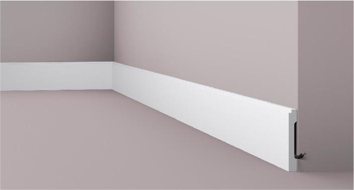 **Precio por Unidad**  - Longitud: 2 m -Altura: 100 mm -Ancho: 15 mm - Material compuesto de poliuretano extruido: espuma homogénea de células finas y  compactas, de color blanco. - Densidad: Ca. 220 kg/m3 - Temperatura de colocación: +10°C a +30°C  (idealmente +15°C a +25°C). - Temperatura de utilización: max. +70°C - Dureza de la superficie: ca. 30 según la norma DIN 53505/ISO 868.  Capa de pintura de imprimación acrílica blanco mate, para ser cubierta con otras capas de pintura. Superficies perfectamente lisas con extremos bien definidos. Superficie estriada en el dorso para facilitar la adherencia del pegamento. Las superficies deben estar limpias, secas, desempolvadas, desgrasadas y lisas; deslustrar si es necesario. Las molduras WALLSTYL pueden pintarse sin inconveniente con pinturas sin solvente (por ejm., pinturas en dispersión, lacas acrílicas, etc.).