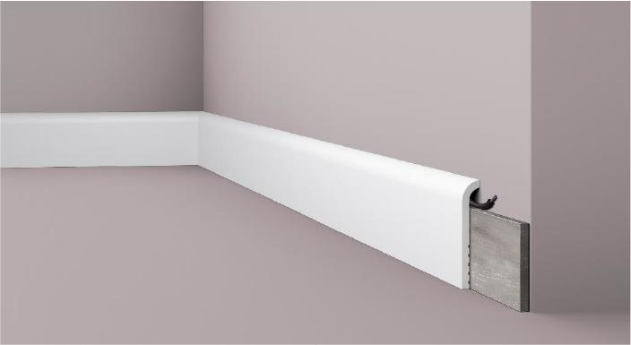 **Precio por Unidad**  - Longitud: 2 m -Altura: 110 mm -Ancho: 22 mm - Material compuesto de poliuretano extruido: espuma homogénea de células finas y  compactas, de color blanco. - Densidad: Ca. 220 kg/m3 - Temperatura de colocación: +10°C a +30°C  (idealmente +15°C a +25°C). - Temperatura de utilización: max. +70°C - Dureza de la superficie: ca. 30 según la norma DIN 53505/ISO 868.  Capa de pintura de imprimación acrílica blanco mate, para ser cubierta con otras capas de pintura. Superficies perfectamente lisas con extremos bien definidos. Superficie estriada en el dorso para facilitar la adherencia del pegamento. Las superficies deben estar limpias, secas, desempolvadas, desgrasadas y lisas; deslustrar si es necesario. Las molduras WALLSTYL pueden pintarse sin inconveniente con pinturas sin solvente (por ejm., pinturas en dispersión, lacas acrílicas, etc.).