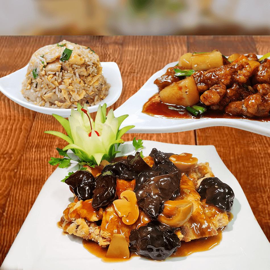 - Enrollado Kay Kin - Pollo Chi Jau Kay - Chancho Crocante (cruyoc) con frutas - Arroz chaufa con pollo