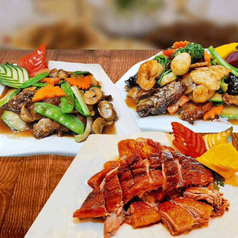- Pollo Chui Pi Kay con champiñones - Pato asado pekinés (1/2 pato) - Tay Pa especial - Costilla de chancho Kin Tu - Arroz chaufa con pollo