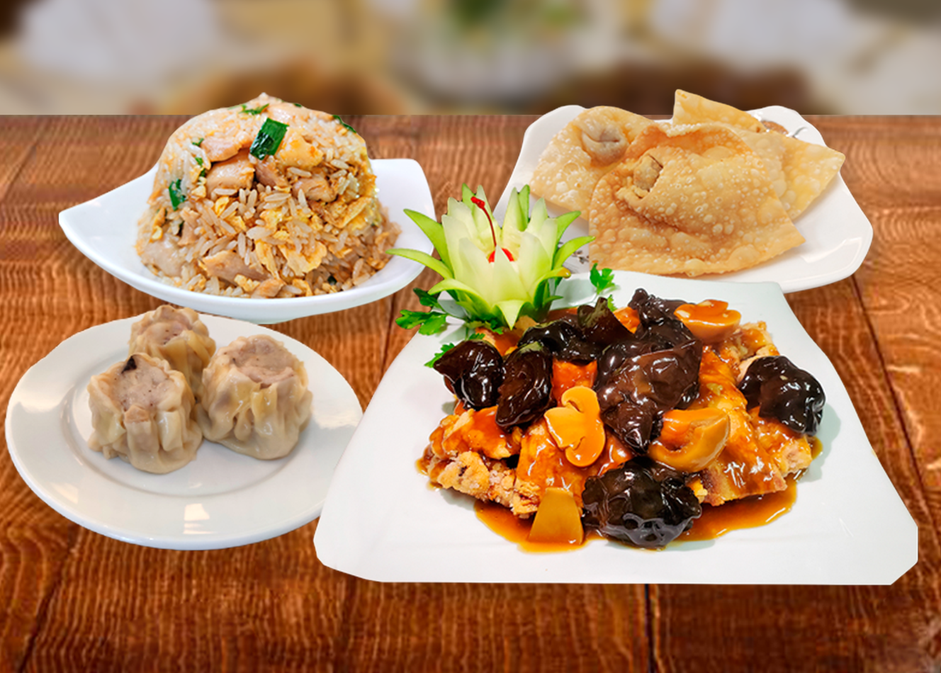 ** Para 2 - 3 personas **  - 03 Siumay  - 03 Wantán  - Pollo Chijaukay o Pollo Tipakay  - Carne de res salteado con verduras  - Arroz chaufa de Pollo
