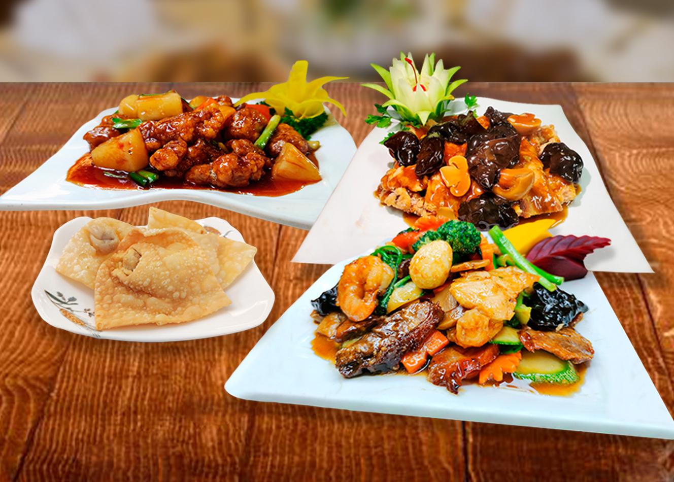** Para 4-5 personas **  - 04 Enrollado primavera - 04 wantanes fritos - Taypa Especial - Pollo chijaukay - Chancho Cruyoc con frutas - Arroz Chaufa de pollo