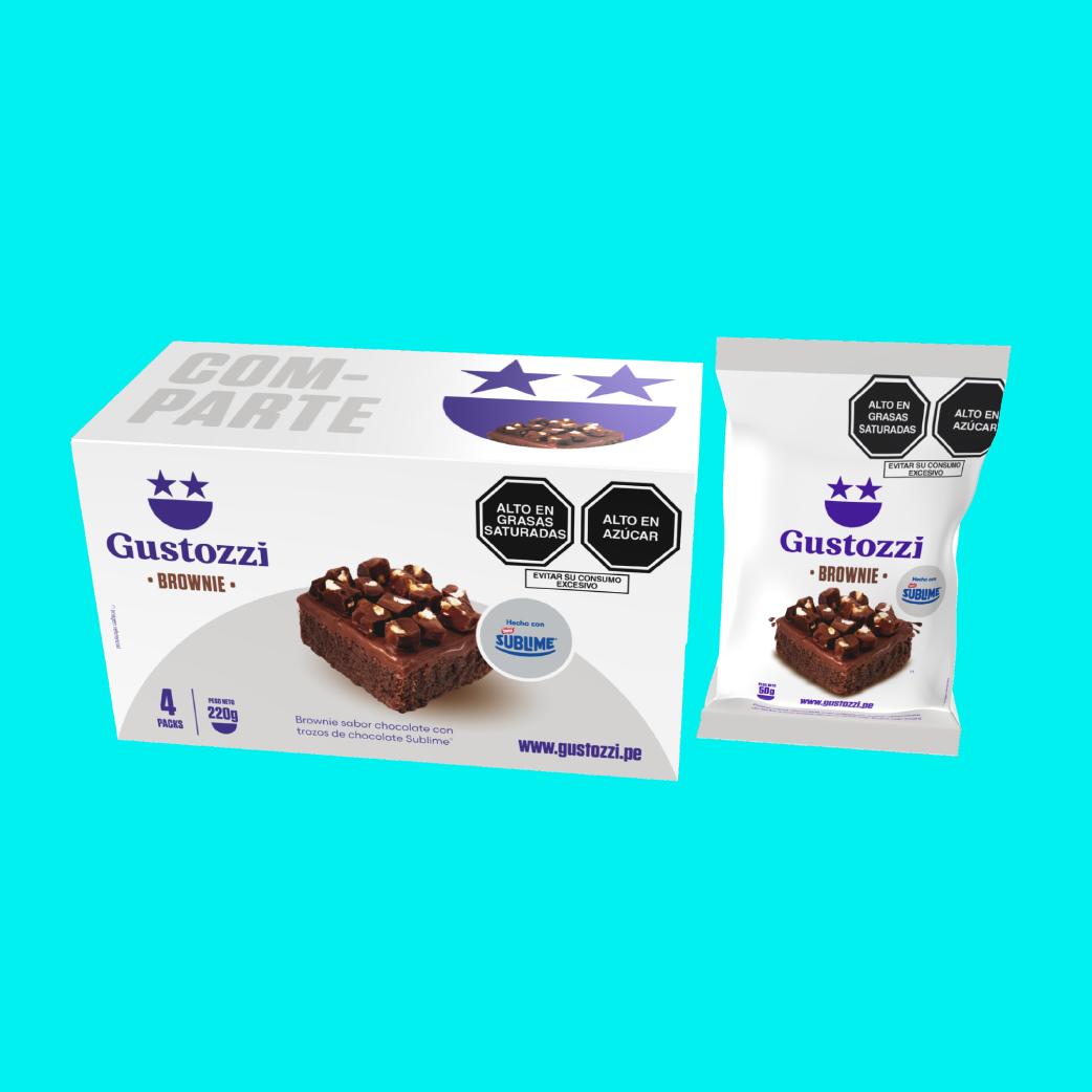 Pack de 4 unidades de Brownies con toppings (trozos) de chocolate Sublime. Ideal para regalar y/o compartir.
