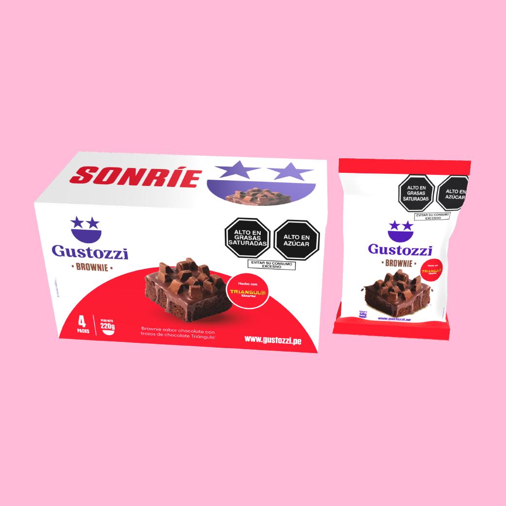 Pack de 4 unidades de Brownies con toppings (trozos) de chocolate Triángulo. Ideal para regalar y/o compartir.