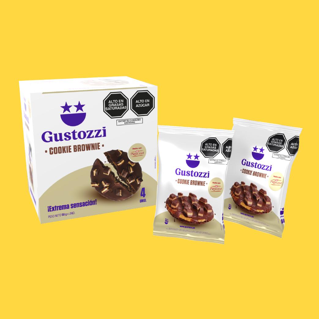 Pack de 4 unidades de galletas con la deliciosa textura de un brownie cubiertasde chocolate y toppings (trozos) de chocolate Princesa. Ideal para regalar y/o compartir.