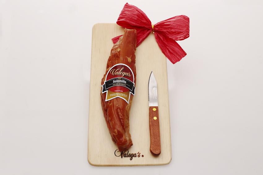 Solomillo Valegas de 350gr con tablita de madera y cuchillo