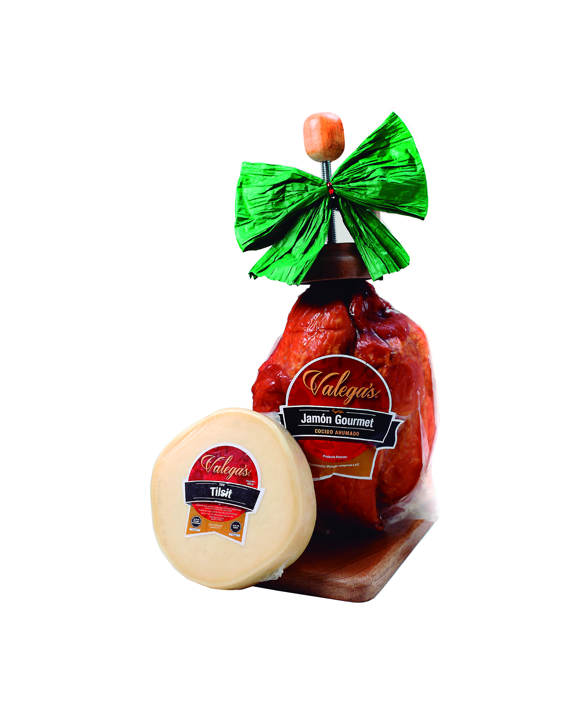 Jamón Gourmet de 2.7kg con parador de madera acompañada por aprox 450gr de delicioso queso tipo Tilsit.