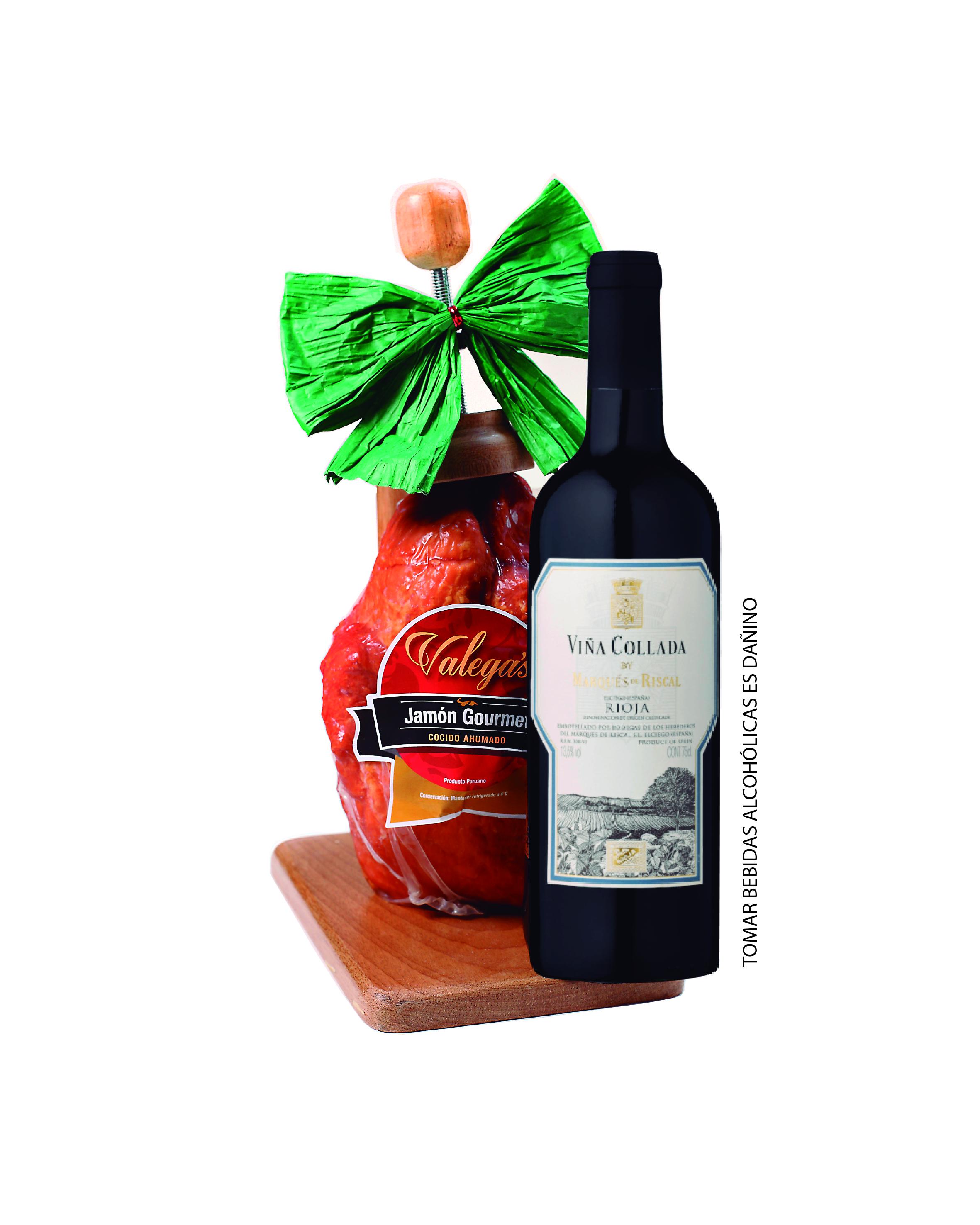 Jamón Gourmet de 2.7kg con parador de madera acompañado por un vino Rioja VC de Marqués del Riscal
