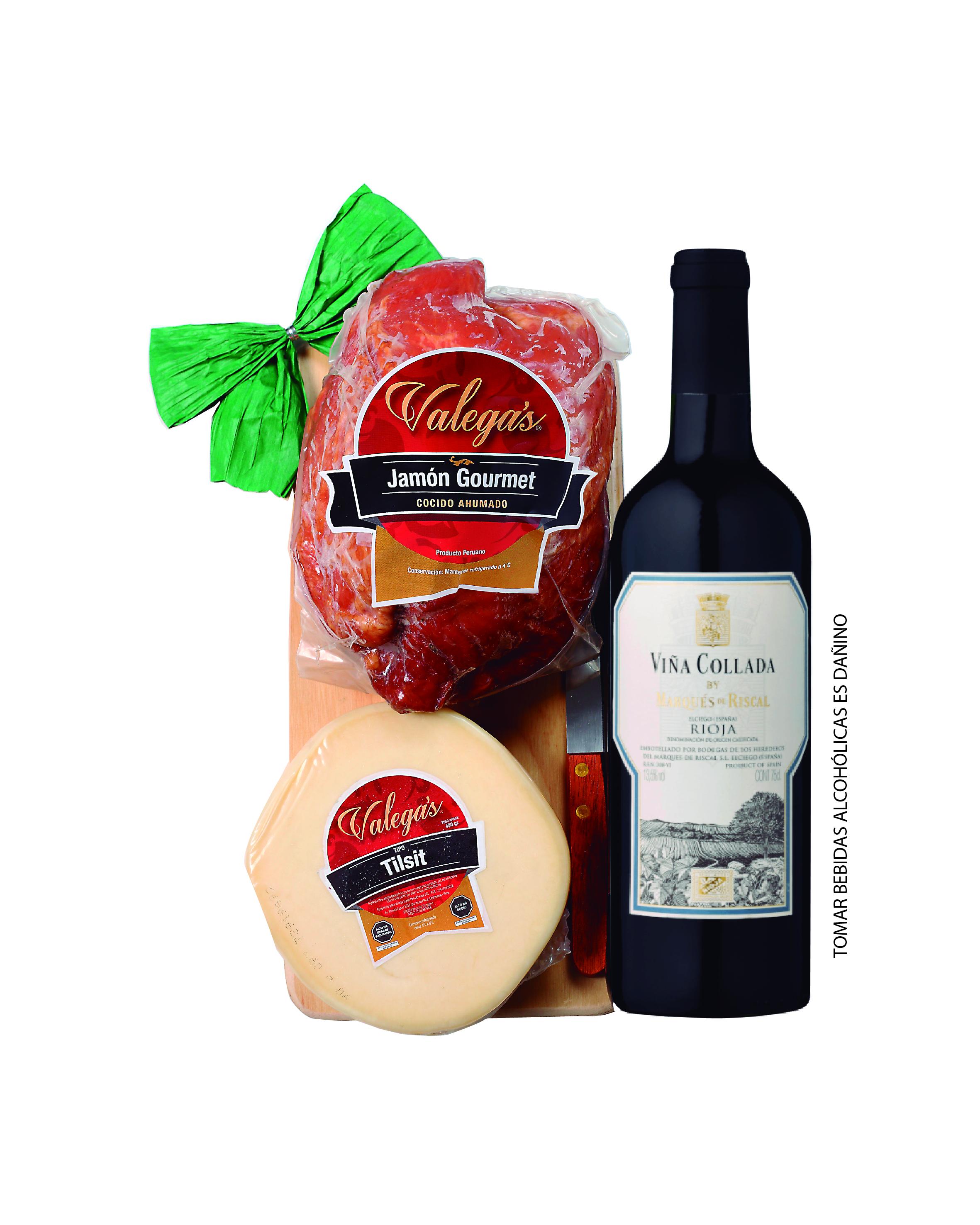 Jamón Gourmet de 1.2kg con tablita de madera y cuchillo,acompañado por un vino Rioja de Marqués del Riscal y 450gr de queso tipo Tilsit