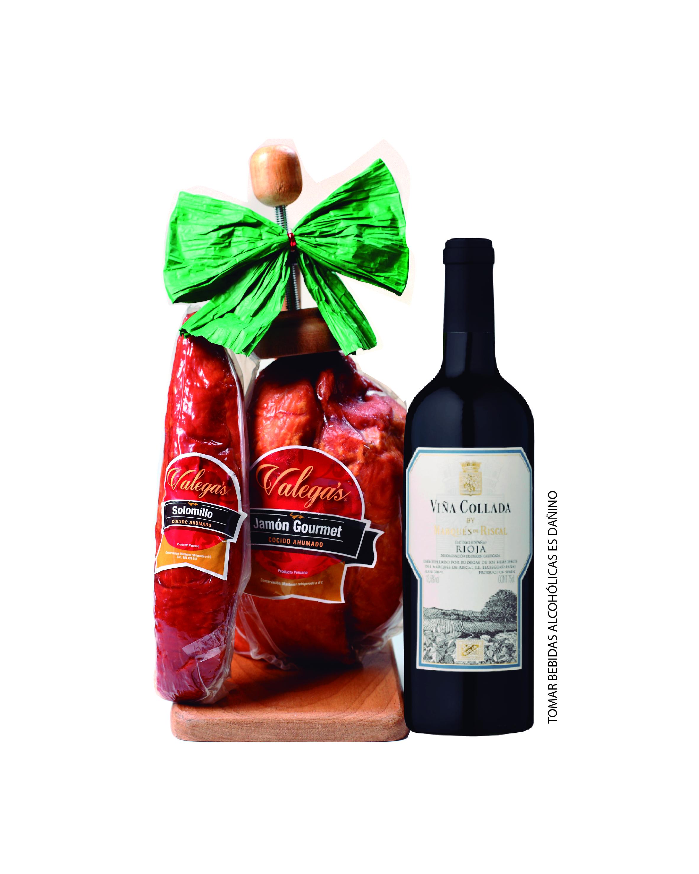 Jamón Gourmet de 2.7kg con parador de madera acompañado por un vino Rioja de Marqués del Riscal y 350gr de solomillo.