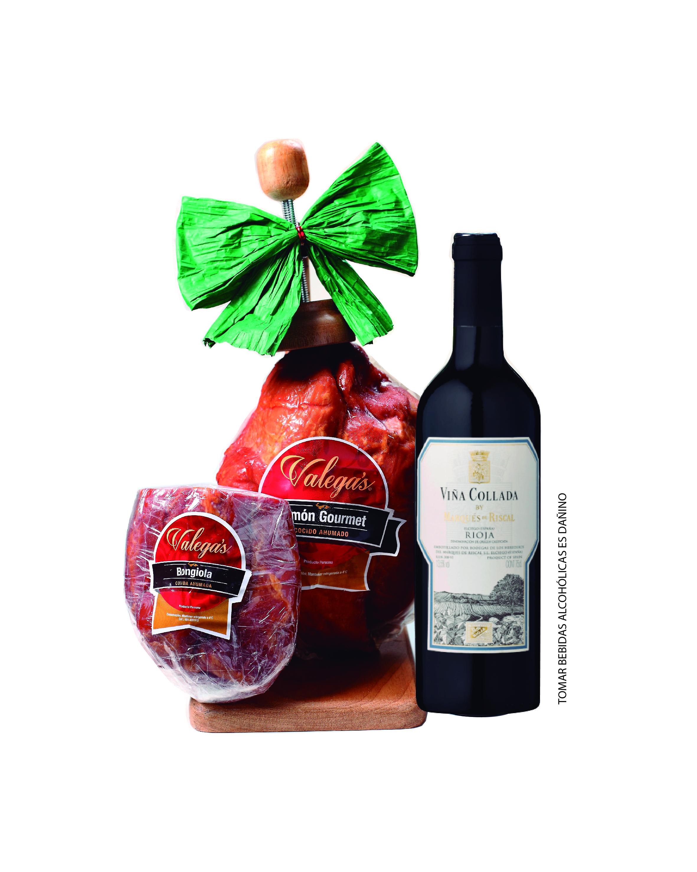 Jamón Gourmet de 2.7kg con parador de madera acompañado por un vino Rioja de Marqués del Riscal y una bongiola de 500gr