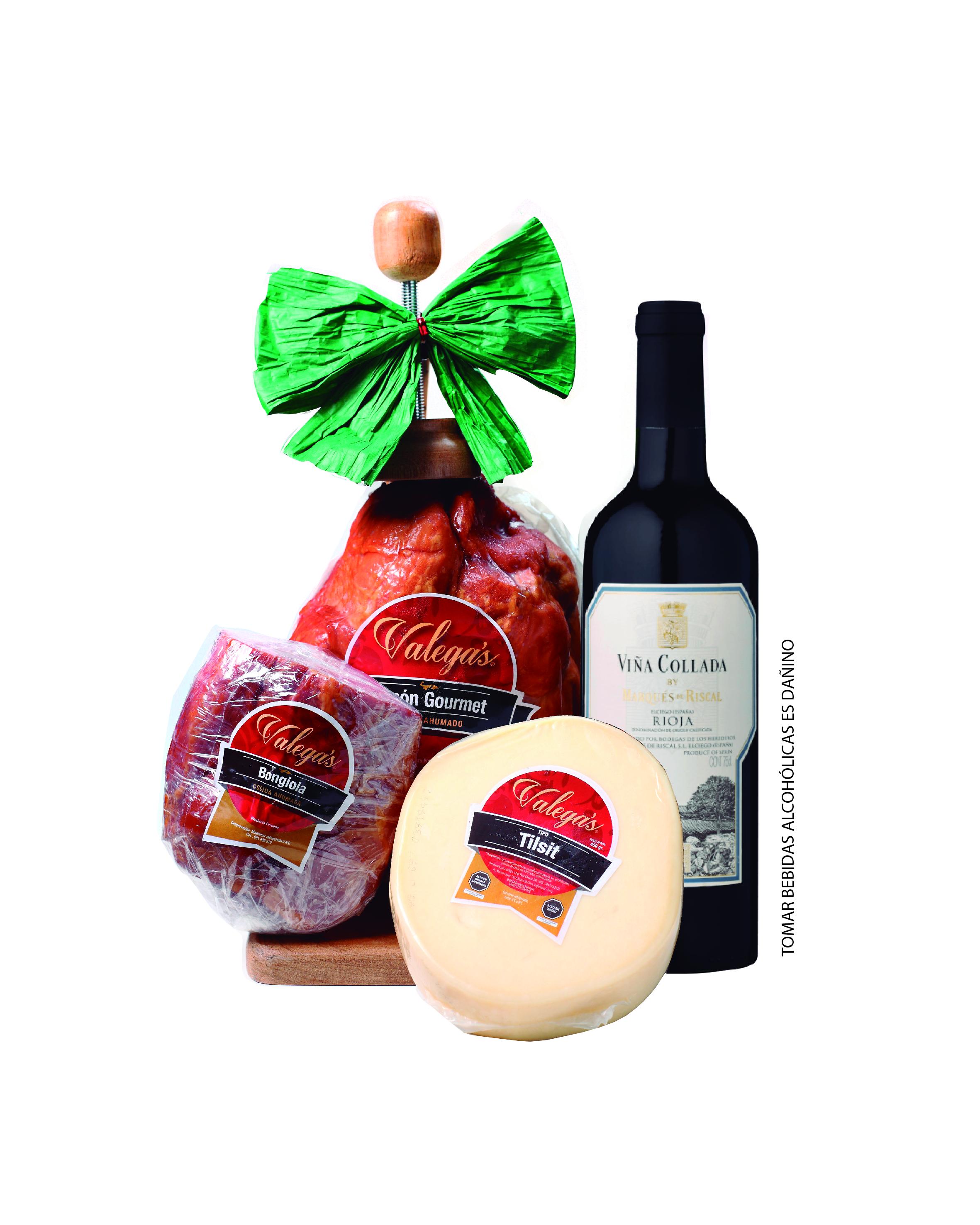 Jamón Gourmet de 2.7kg con parador de madera acompañado por un vino Rioja de Marqués del Riscal, 500gr de bongiola y 450gr de queso tipo Tilsit