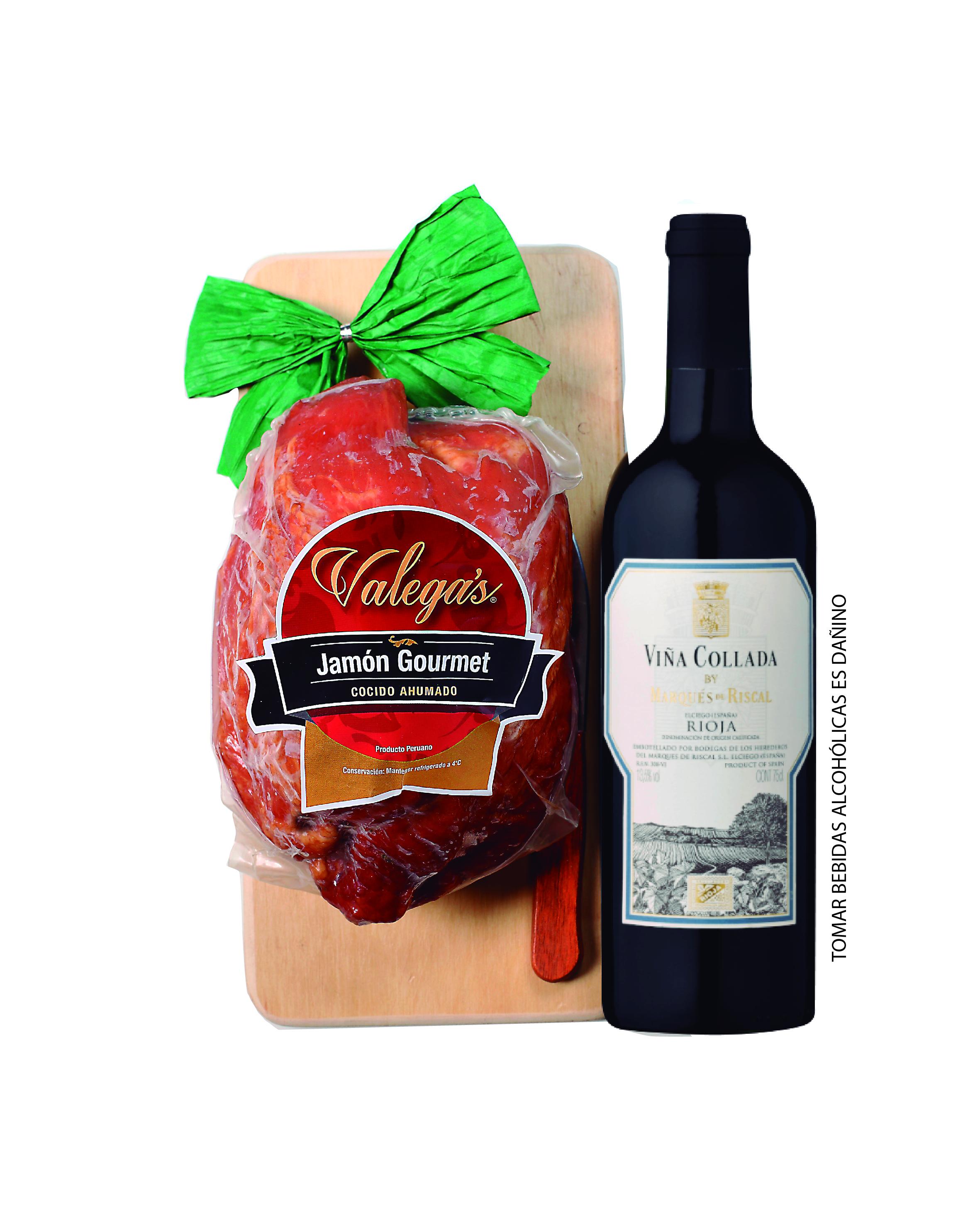 Jamón Gourmet de 1.2kg con tablita de madera y cuchillo,acompañado por un vino Rioja de Marqués del Riscal.